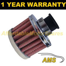 18mm MINI AIR OIL CRANK CASE BREATHER FILTER FITS MOST CARS RED & CHROME ROUND