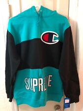 Supreme x Champion Hooded Pullover Hoodie Black Teal FW14 NWT Sz L