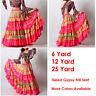 LGold/DeepPink Satin 6/12/25 Yard Tiered Gypsy Frill Skirt Belly Dance Flamenco