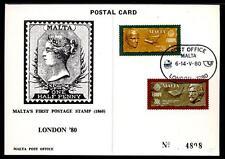 EUROPA C.E.P.T. - Cartolina postale - MALTA - 1980 - LONDON - Espos. filat. mond
