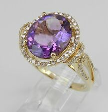 14K Yellow Gold Diamond and Amethyst Halo Engagement Ring Size 7 February Gem