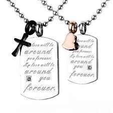 MENDINO Men's Women Stainless Steel Pendant Necklace Heart Cross Dog Tag Couples