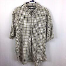 Nautica Mens Plaid Shirt XL Button Down Beige Navy Short Sleeve Cotton Casual