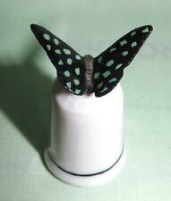 More details for klima porcelain butterfly on thimble black with green spots k409