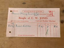 OCT 1939 C W JONES (NAILSWORTH, GLOS) COAL MERCHANT INVOICE FOR WELSH BOBBLES