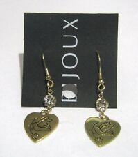 style gorgeous heart design white stone Lovely Gold tone metal earrings dangle
