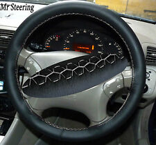 FOR MERCEDES M CLASS BLACK ITALIAN LEATHER STEERING WHEEL COVER WHITE STITCH NEW