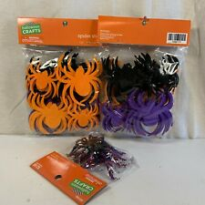 Halloween Crafts Spider Stickers 2 Package of 24 pieces each & Glitter Spiders