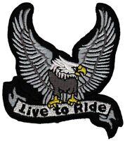 bc04 Adler Eagle Live to Ride Biker Aufnäher Bügelbild Patch Chopper Motorrad
