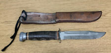 Vintage 1970's Kabar 1207 Hunting Knife w/ Genuine Leather Sheath, Made in USA