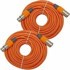 2 ORANGE Premium 50 FT FOOT XLR 3 Pin Microphone Male to Female EXTENSION Cable