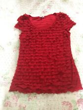 Gorgeous PHASE EIGHT Red Ruffles Short Sleeves Top-size 12/ Like 10. Immaculate