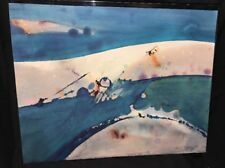 LISTED ARTIST KEITH FINCH Watercolor PAINTING 1981 Original Ocean Blue Art !