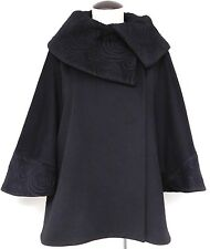 LORO PIANA CINZIA ROCCA 100% SUPERFINE WOOL HIP LENGTH 3/4 SLEEVE CAPE OPERA M-8