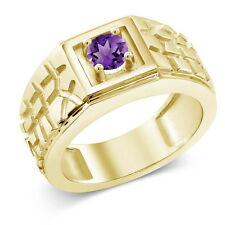 0.45 Ct Purple VS Amethyst 18K Yellow Gold Plated Silver Men's Solitaire Ring