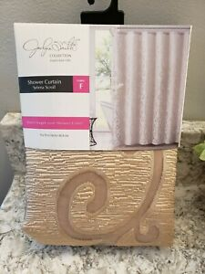"""Jaclyn Smith Collection Shower Curtain, """"Selena Scroll""""  72"""" x 72"""", New"""