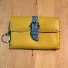 Yellow Leather Nordstrom Womens Wallet with Keyring, Zippered Interior Pocket