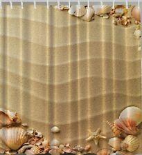 Shells Sand Beach Fabric SHOWER CURTAIN Sea Starfish Ocean Conch Bathroom Decor