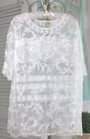 NEW~ Plus Size 3X Sheer Ivory Floral Mesh Lace Boho Chic Top Blouse