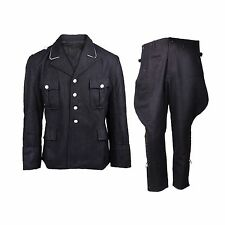 WWII WW2 GERMAN ELITE M32 OFFICER BLACK WOOL TUNIC AND BREECHES UNIFORM  L