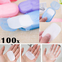 100x Portable Outdoor Travel Mini Soap Paper Washing Hand Bath Clean Scent Sheet