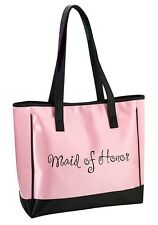 Pink Maid of Honor Tote Bag Wedding Bridal Shower Gift Party Embroidered