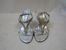 Stuart Weitzman Silver Sandal Rhinestone Strappy Crystal High Heel Size 8