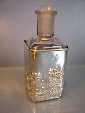 Victorian 1898 Chester Silver cased perfume bottle cherubs, unicorn & design.