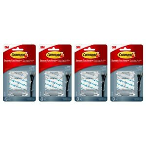 Command 17303CLR Large Cord Clips Hook Organize No Damage 2 Clips Clear, 4-Pack
