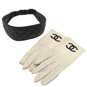 CHANEL CC Logos Gloves Headband Set White Black Nylon Leather France Auth #Z552