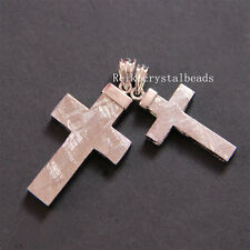 Natural Gibeon Meteorite Cross Shape Silver Plated Pendant 36x20mm 10 Grams