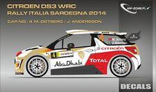 DECALS 1/43 CITROËN DS3 WRC #4 - OSTBERG - RALLYE SARDAIGNE 2014 -MF-ZONE D43334