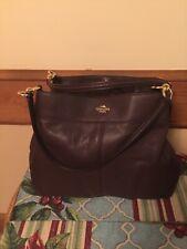 Coach Purple Leather 3 compartment handbag Madison