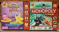 2x Hasbro Childrens Board Games Monopoly Junior & Cranium Junior - Both Complete
