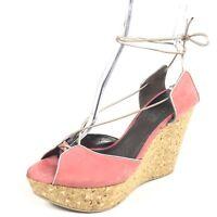 Salvatore Ferragamo Womens Size 9 B Pink Leather Wedge Gladiator Sandals