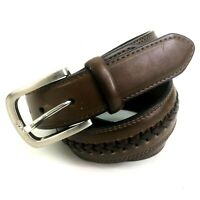 "CLE Leather Mens Belt Brown Woven Size 36"" (34-38) Brass Buckle"