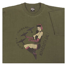 Army Style Military T Shirt Bomber Girl Vintage 100% Cotton Medium