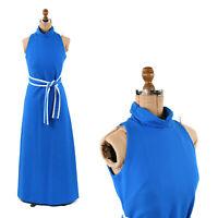 Vintage 70s Lampl Blue + White Textured Sleeveless Long Retro Maxi Dress S