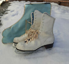 Vintage White Ice Skates With Case, Decoration,Skating, Wo 8