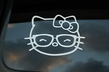 Hello Kitty Cute Glasses Vinyl Sticker Decal (V209) Cute Bow Nerd Choose Size!!!