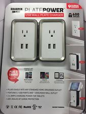 2pk Sharper Image Power Plate USB Wall Charger Two-pack Grounded Wall Outlet