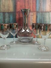 New listing Silver Lusterware Decanter And Glasses Made In France