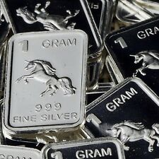 """Unicorn"" Design. Lot of 10, 1 gram .999 Fine silver bullion bar. 'NEW'"