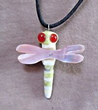 Native Zuni Serpentine, Marble & Shell Dragonfly Fetish Necklace JN0286