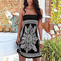 Womens Lady Strapless Bandeau Boob Tube Floral Summer Beach Party Mini Dress Top
