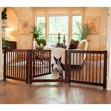Expandable Wooden Pet Gate with Door Fits 29-72 Inches Rotates 360 Dog Safety