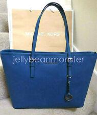 MICHAEL KORS Jet Set Travel Multifunction Leather Shoulder Tote Bag Steel Blue