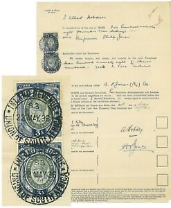 """SOUTH AFRICA - 1936 """"SHARES"""" document with 2x 1931 KGVI 3/- (ME253c)"""