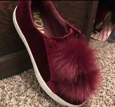 Sam Edelman Leya Faux Fur Laceless Sneaker - Women's Size 8.5 Muled Wine Pom Pom