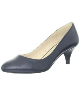 Nine West Womens Size 6 M Navy Blue Swaymeso Pump Leather Pointy Toe Slide On